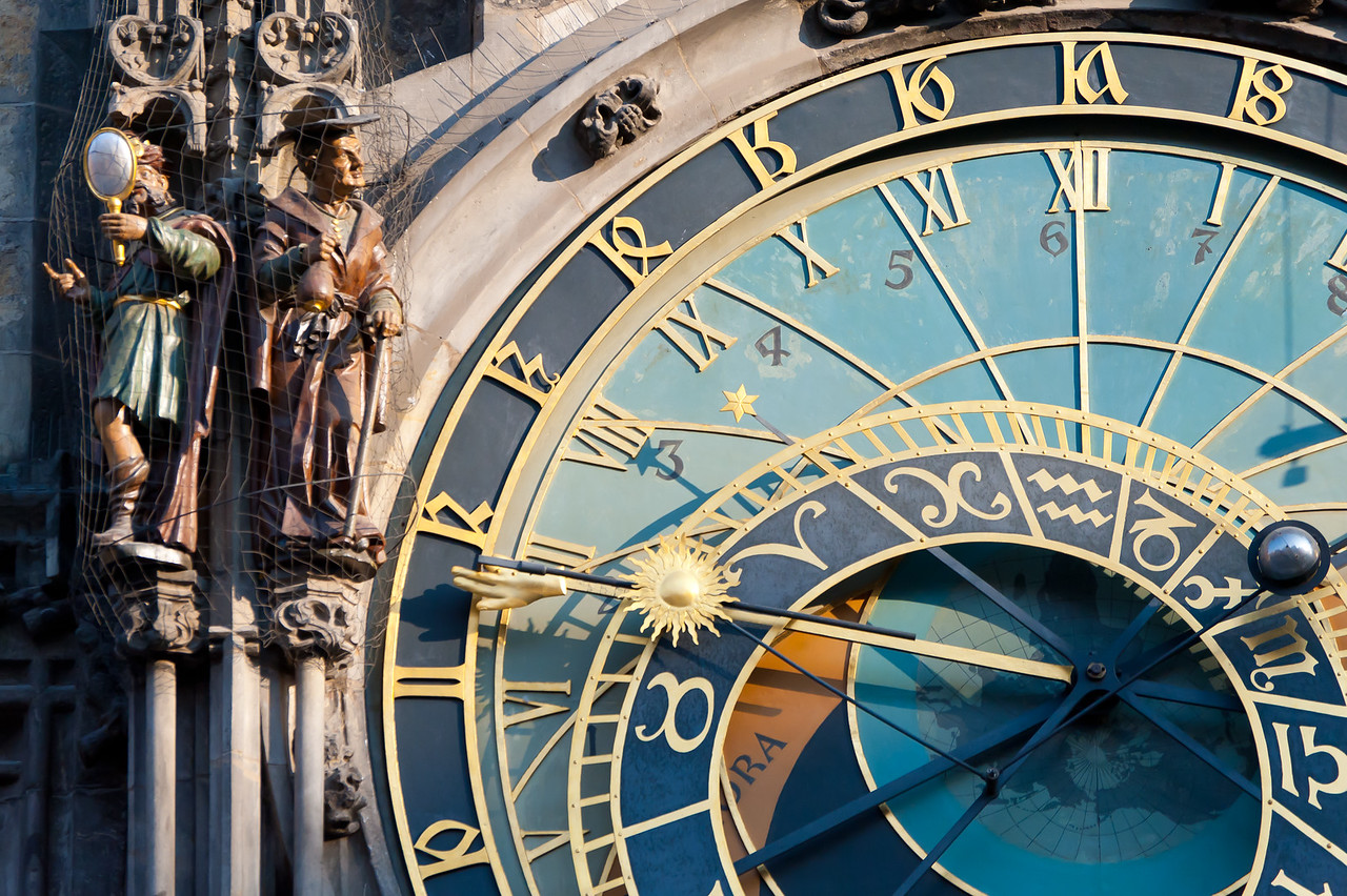 Close-up of the Astronomical Clock in Prague, Czech Republic
