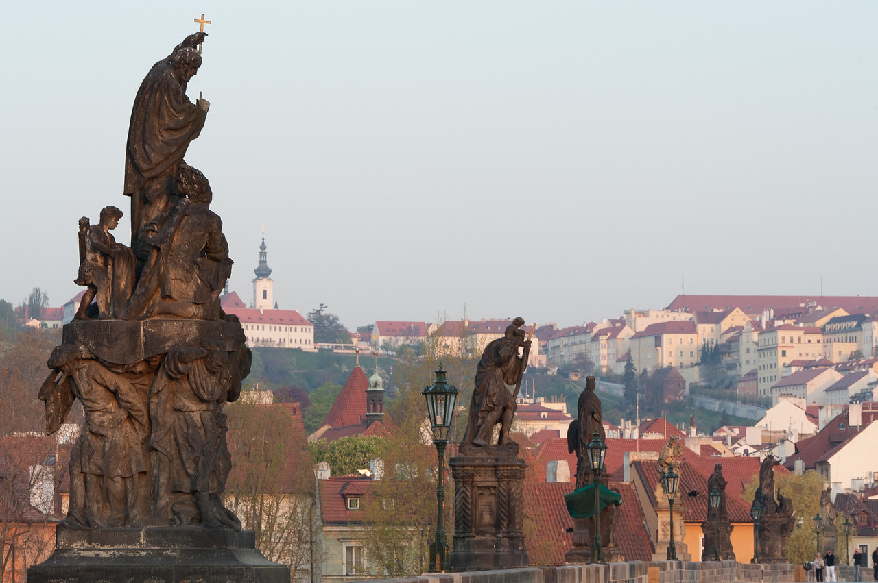 Row of statues at the Charles Bridge in Prague, Czech Republic