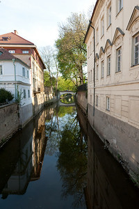 Portrait of the river bank in the city of Prague, Czech Republic