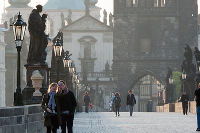 Tourists having their photo taken at Charles Bridge - Prague, Czech Republic