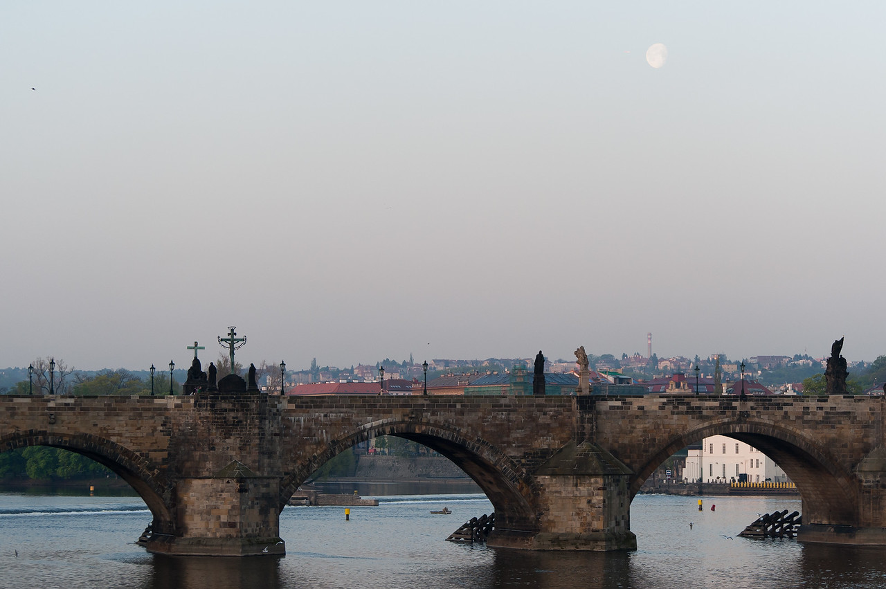 Wide shot of Charles Bridge in Prague, Czech Republic