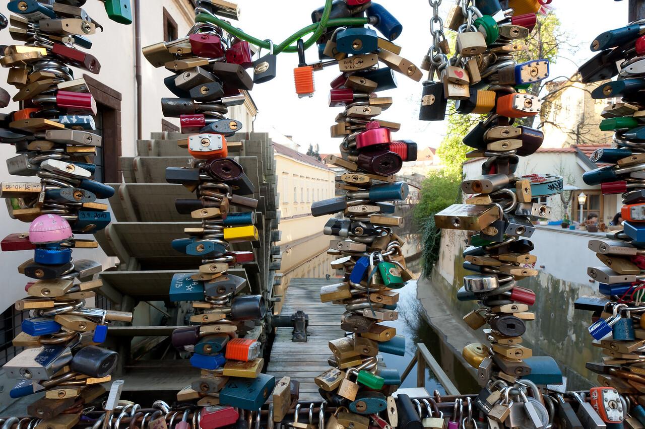 Closer shot of the love locks in Charles Bridge - Prague, Czech Republic