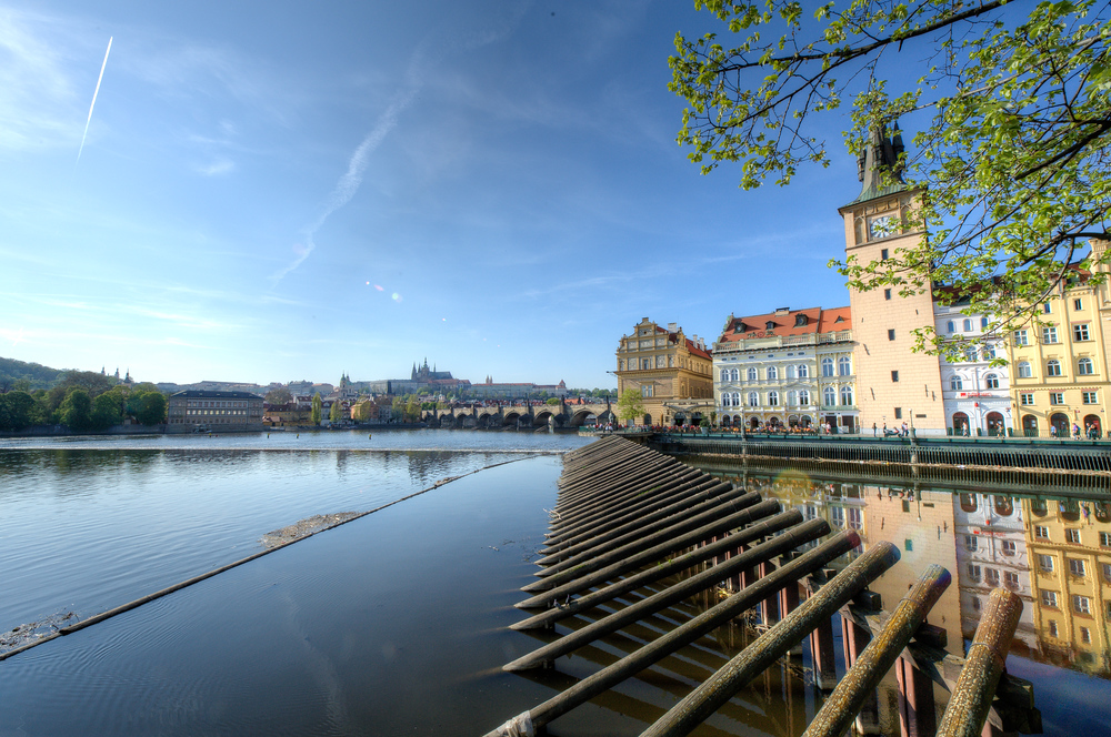 The Banks of the Vltava River in Prage, Czech Republic