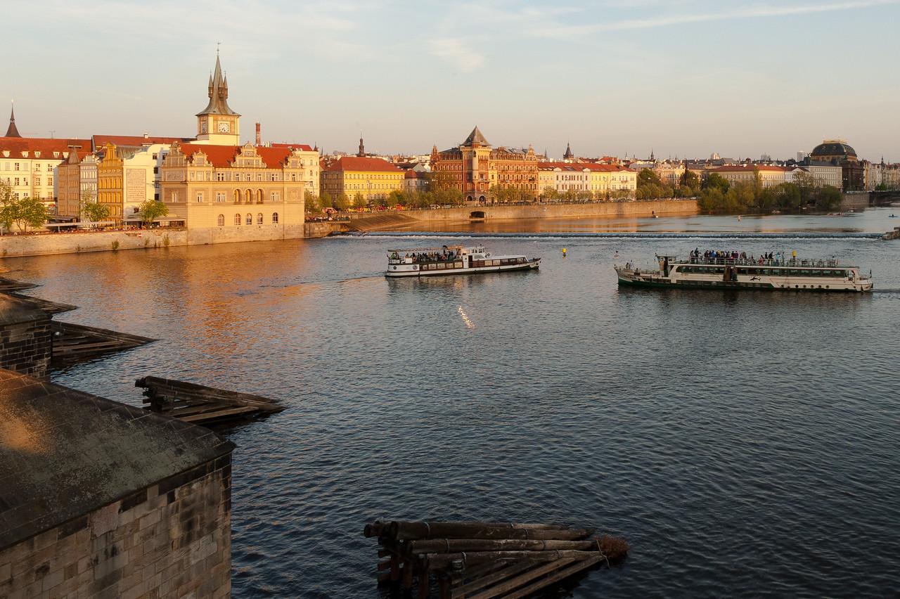 Tourist boats cruising near Vyšehrad in Prague, Czech Republic