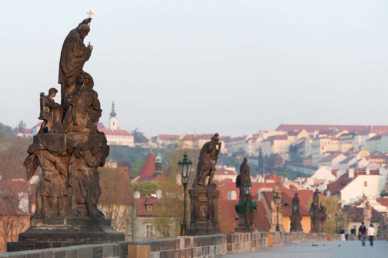 Row of statues in Charles Bridge - Prague, Czech Republic