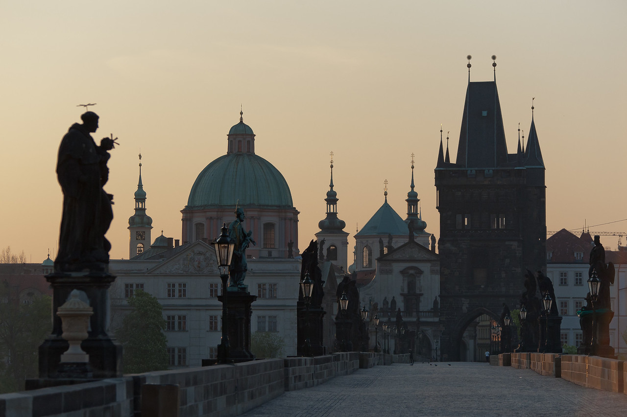 View of the Church Dome of Saint Francis of Assissi from the Charles Bridge - Prague