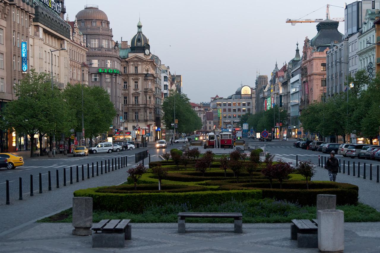 City park in Wenceslas Square- Prague, Czech Republic