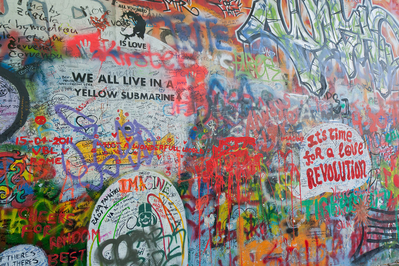 Beatles reference at graffiti in Lennon Wall - Prague, Czech Republic