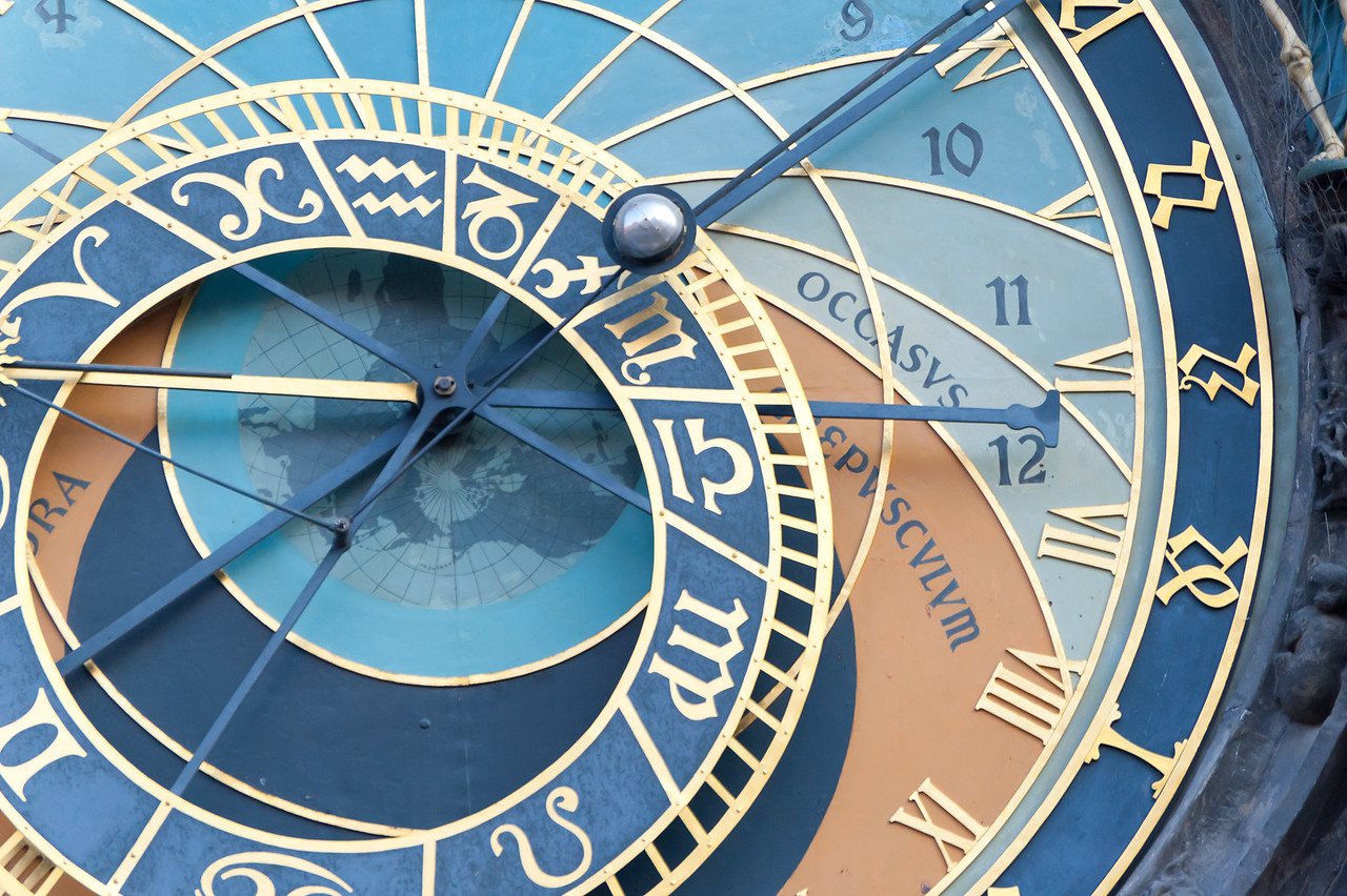 Detailed shot of the Astronomical Clock in Prague, Czech Republic