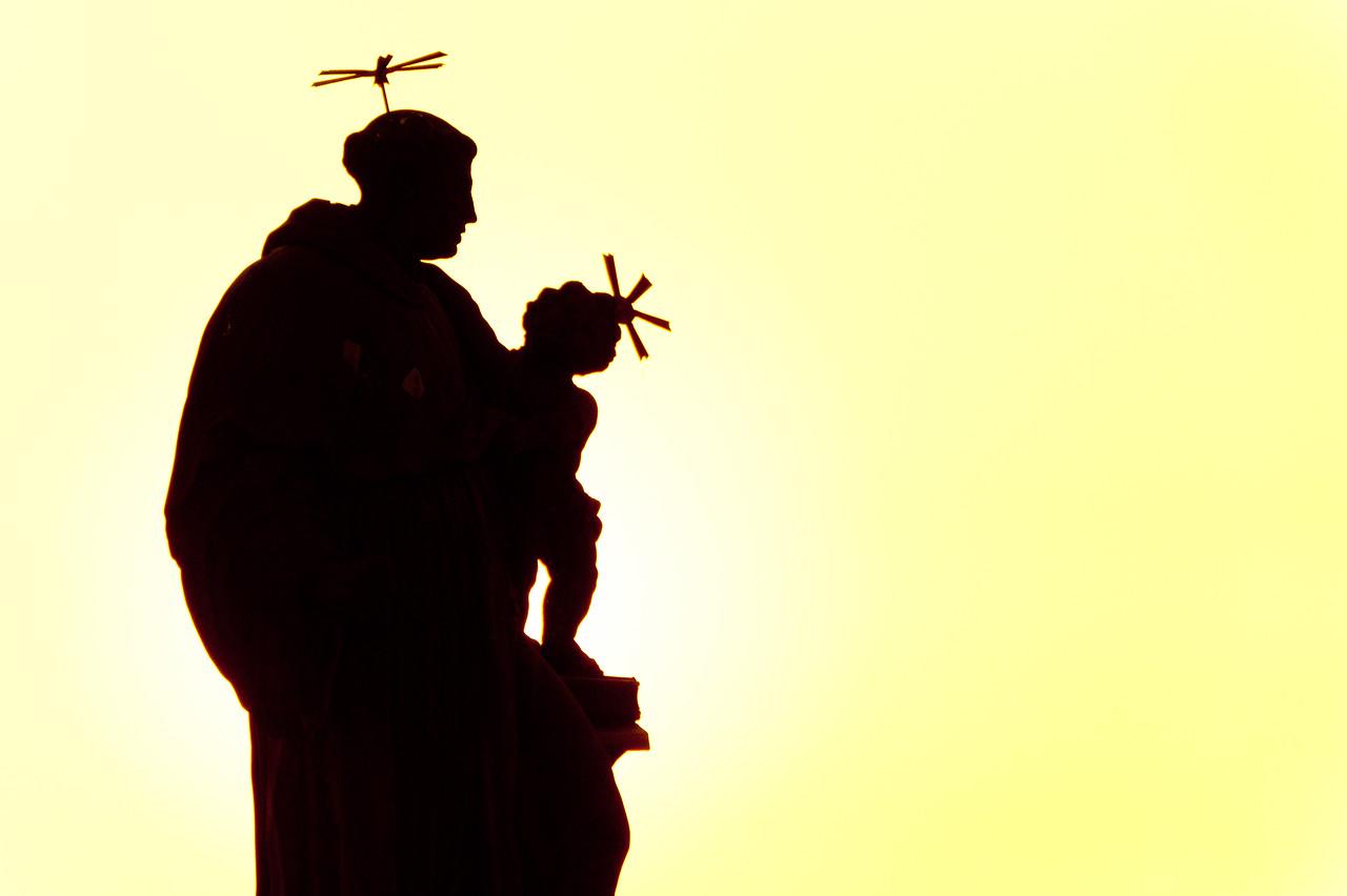Silhouette of a statue in Charles Bridge at dusk - Prague, Czech Republic