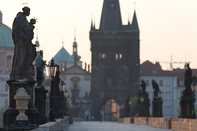 Row of statues along the Charles Bridge in Prague, Czech Republic