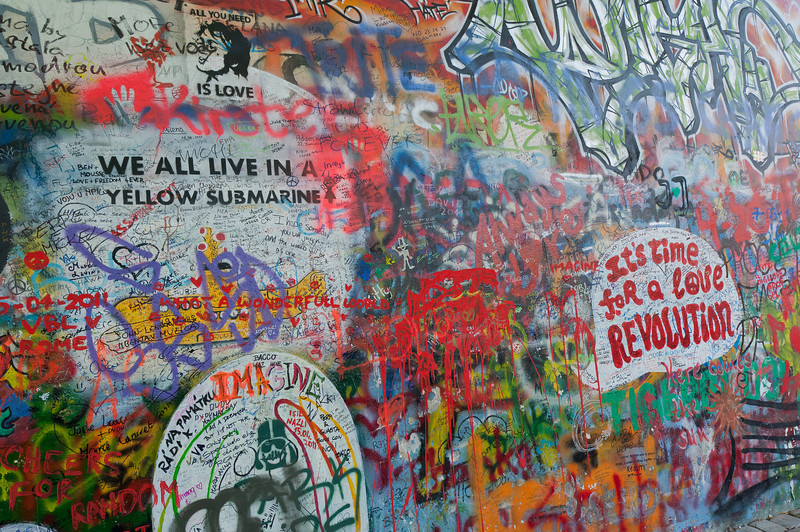 Closer shot of graffiti on Lennon Wall - Prague, Czech Republic