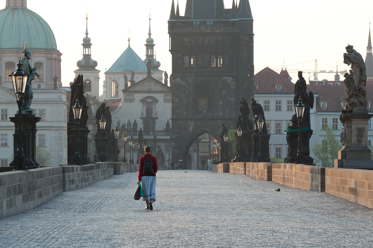 A woman on Charles Bridge - Prague, Czech Republic