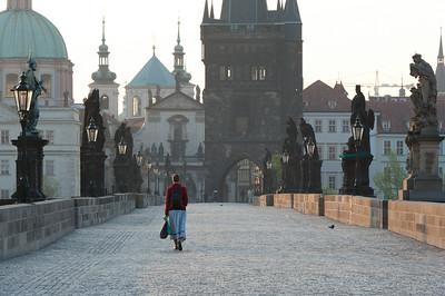 A woman on Charles Bridge - Prague, Czech Republic