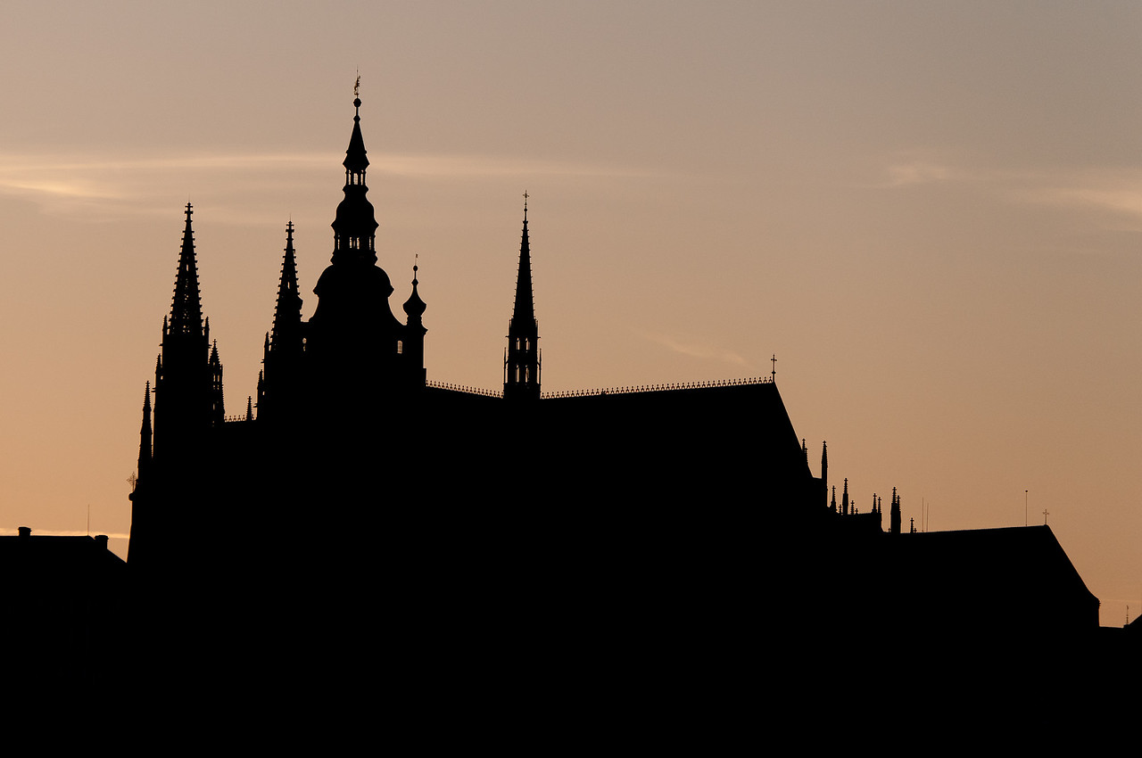 Silhouette of Prague Castle in Prague, Czech Republic