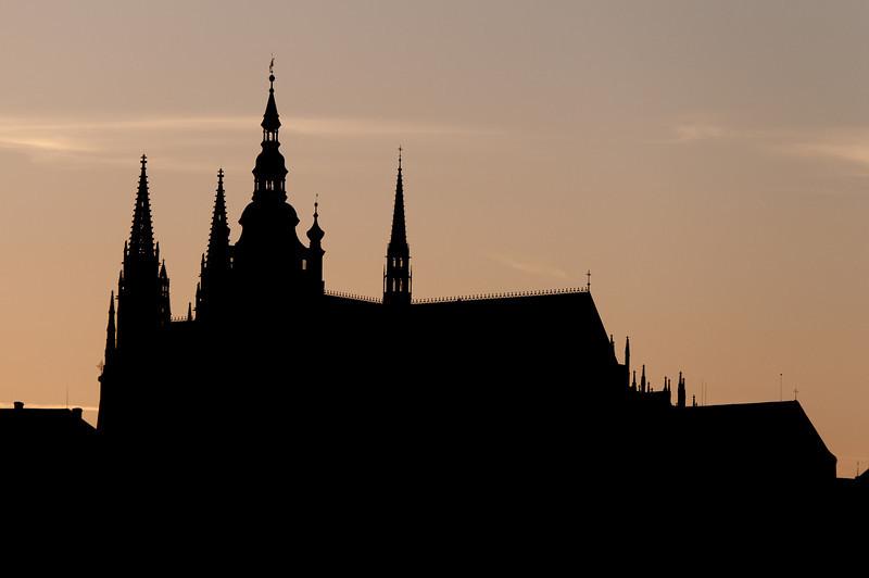 Silhouette of Prague Castle in Prague, Czech Republic