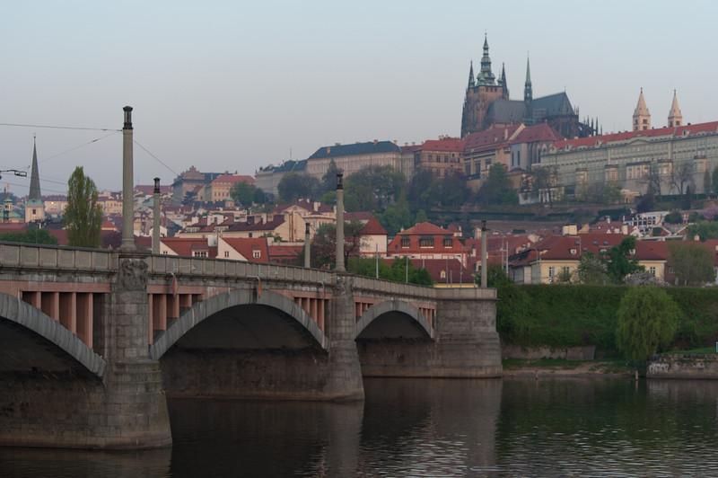 Charles Bridge at dusk with view of the Prague Castle - Prague, Czech Republic