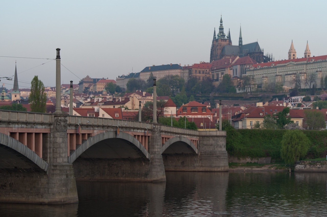 Charles Bridge at dusk with view of the Prague Castle - Prague, Czech Republic