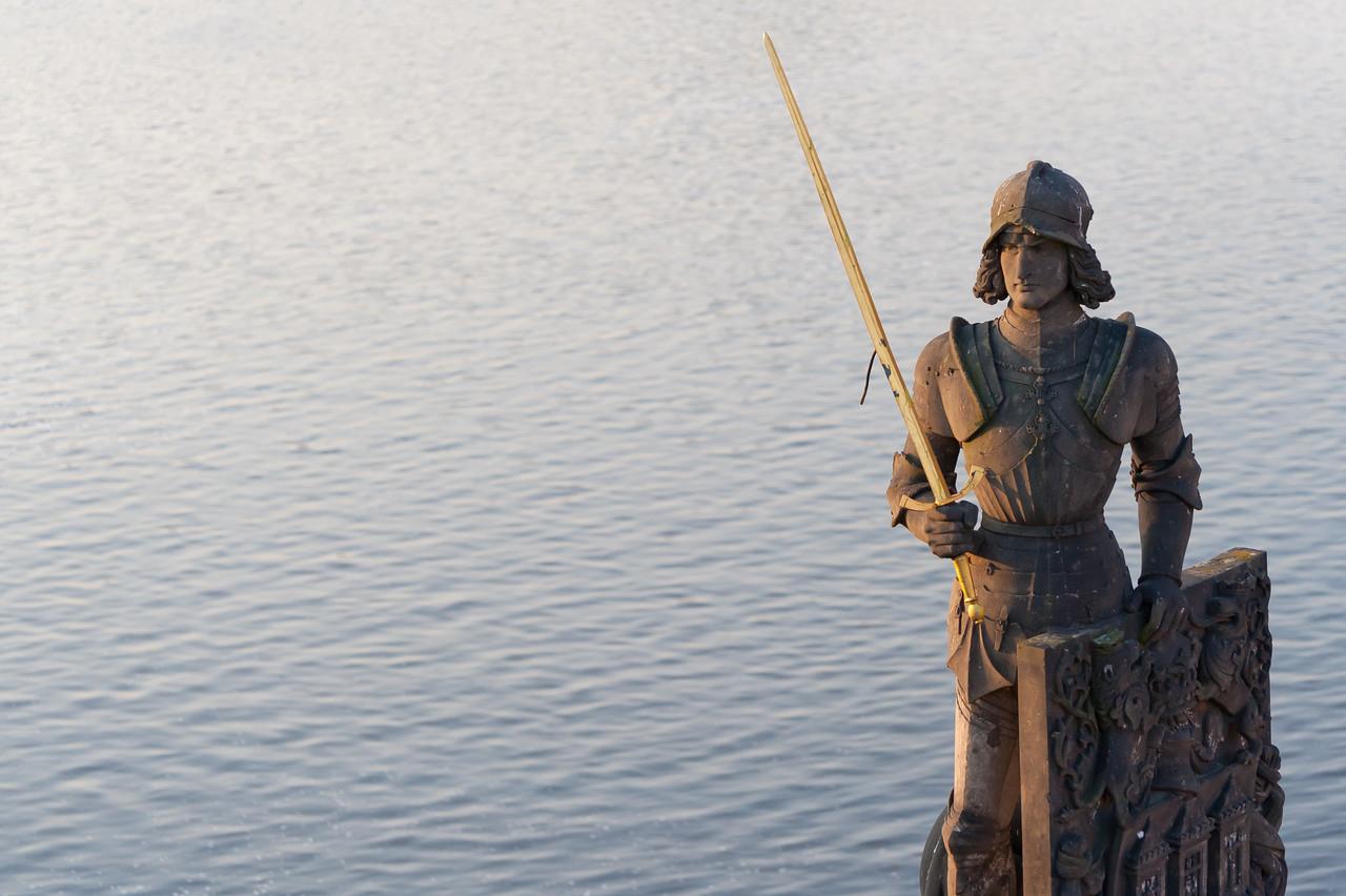 Bruncvík and his legendary sword statue in Prague, Czech Republic