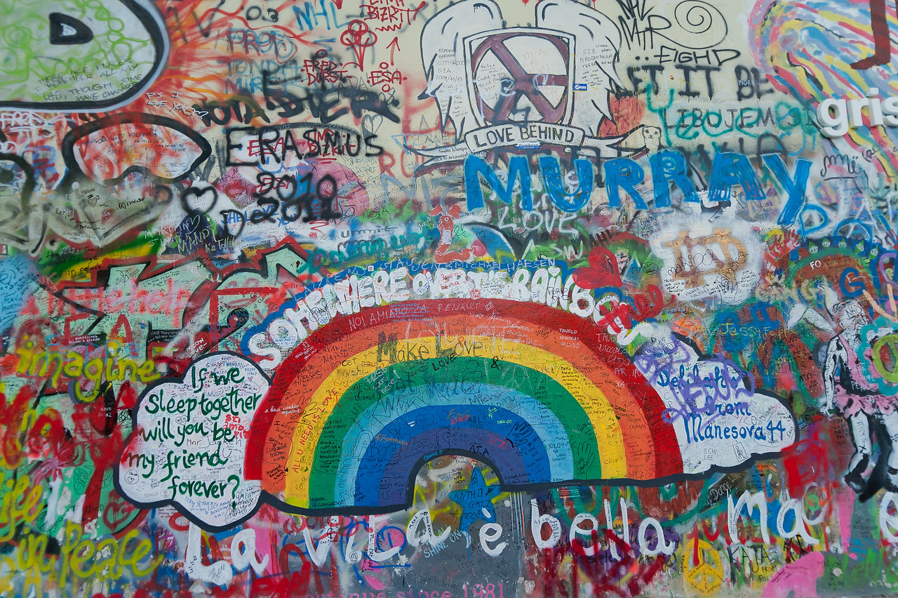 Colorful graffiti at Lennon Wall in Prague, Czech Republic