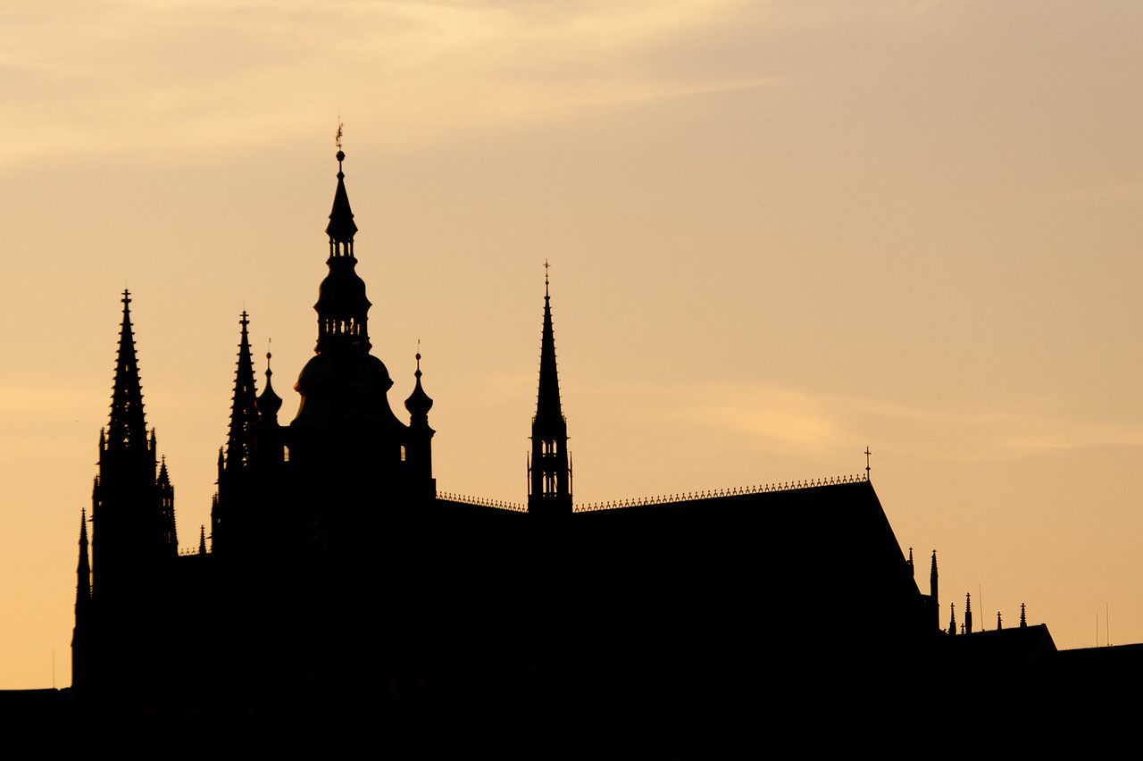 The Prague Castle silhouette during sunset - Czech Republic
