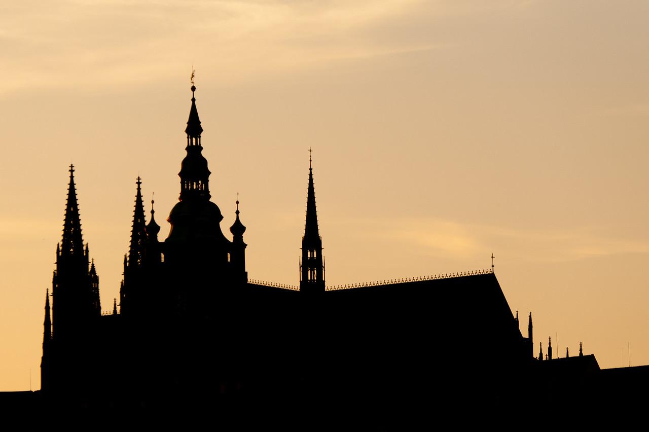 The Prague Castle silhouette during sunset - Czech Republic