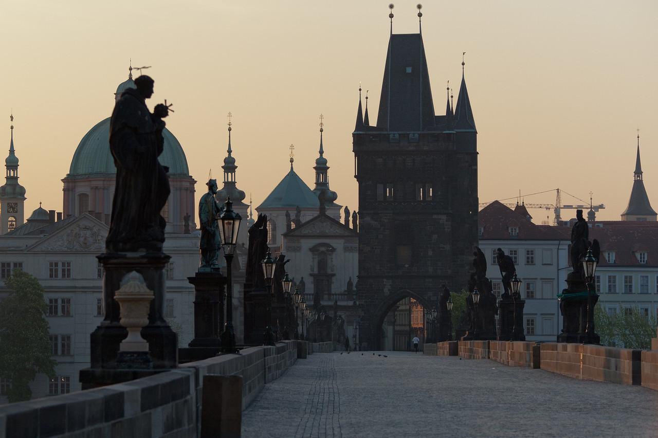 Quiet Charles Bridge at dusk - Prague, Czech Republic