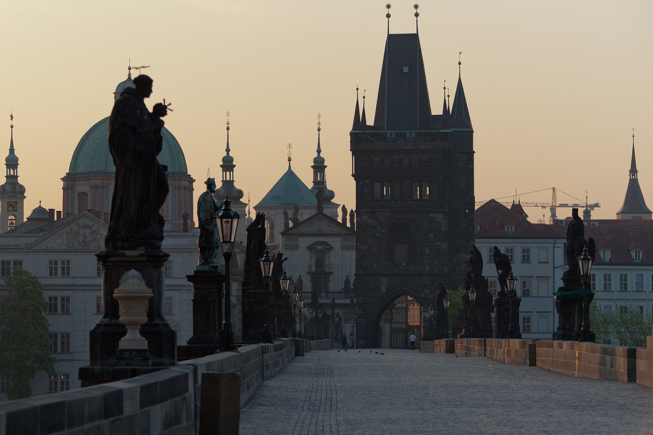 Quiet Charles Bridge at dusk - Prague, Czech Republic