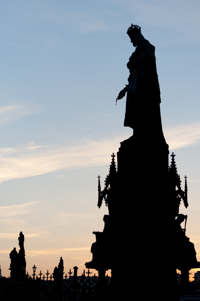 Silhouette of a tall statue in Prague, Czech Republic