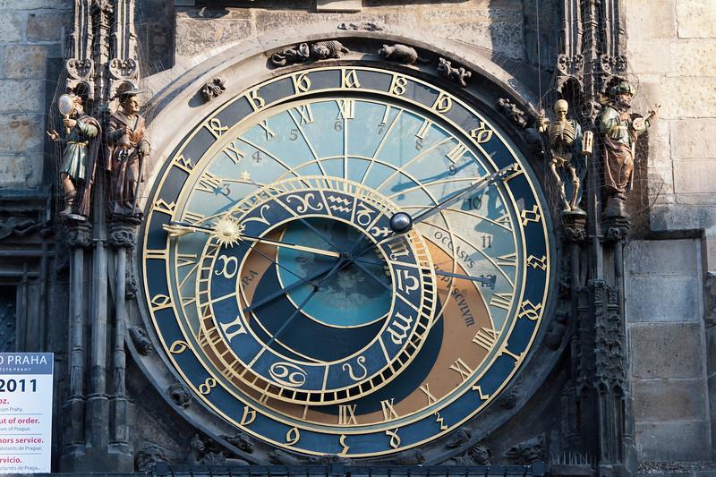 Full profile of the Astronomical Clock in Prague, Czech Republic