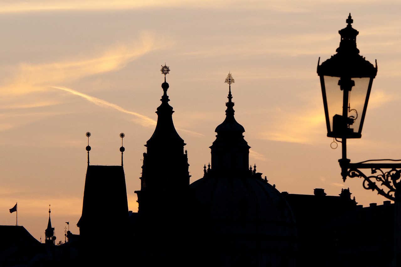 Silhouettes of buildings at sunset - Prague, Czech Republic