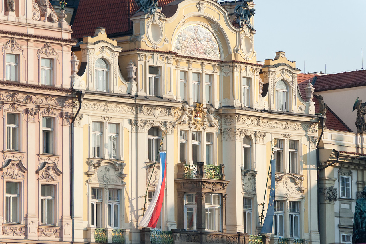 An old structure with flag in Prague, Czech Republic
