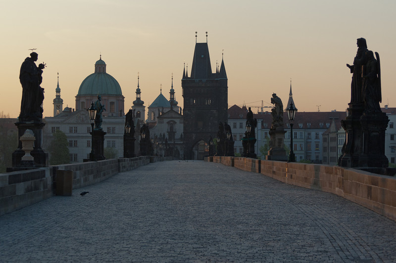 Empty Charles Bridge at dusk - Prague, Czech Republic