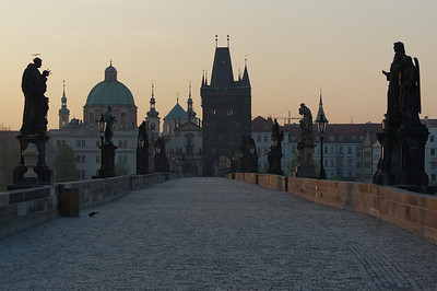 Empty Charles Bridge at dusk - Prague, Czech Republic