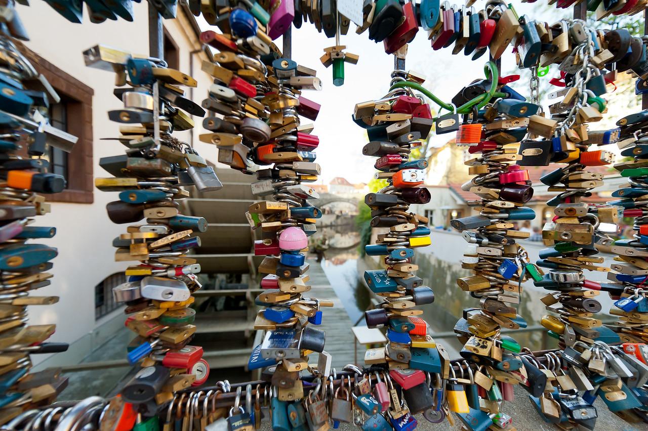 The Love Locks in Charles Bridge, Prague - Czech Republic