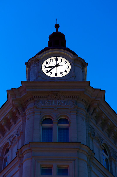 Clock on top of a building in Prague, Czech Republic