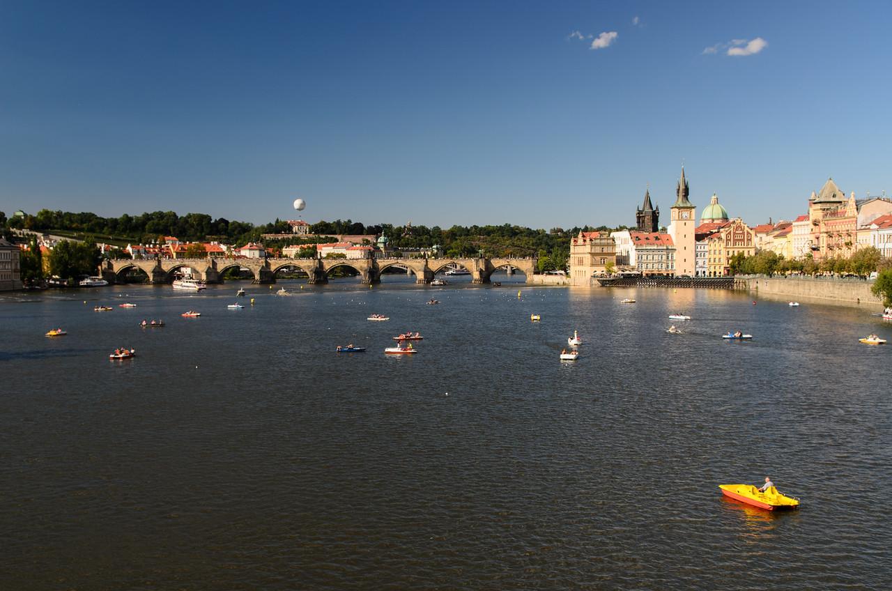 Boating on the Vlata River, Charles Bridge.