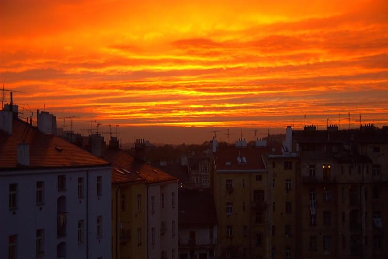 Orange Sky at Sunset - Prague, Czech Republic