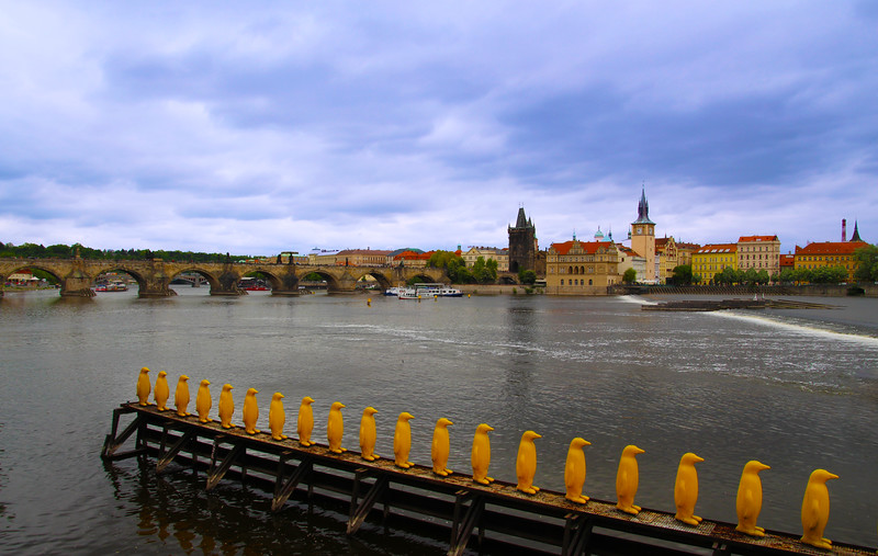 Prague, Czech Republic, View on Charles Bridge and Old Town