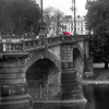 Prague, Czech Republic, Bridge in Rain, BW