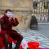 Prague, Czech Republic, Mime applying Makeup