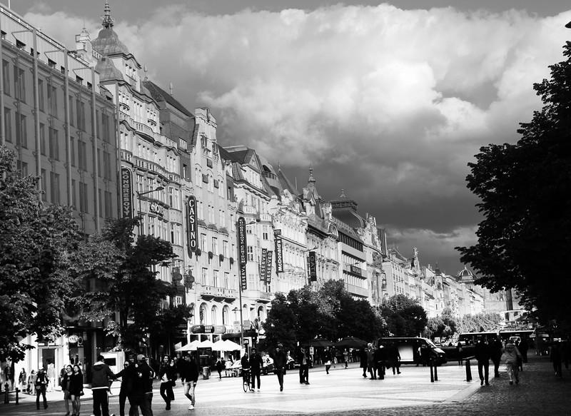 Prague, Czech Republic, Shopping Promenade, BW