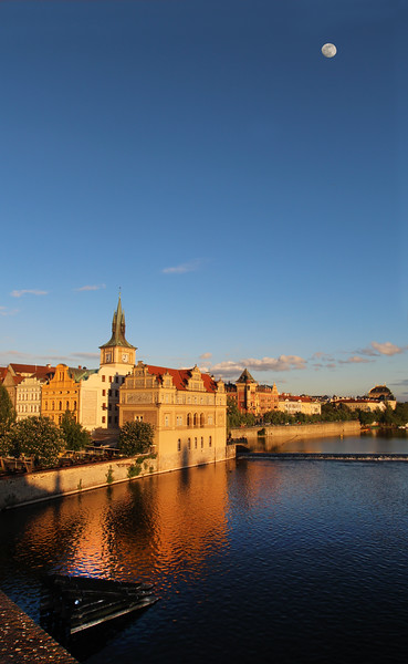 Prague, Czech Republic, Twilight View from Bridge