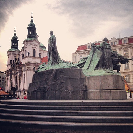 Just when you thought winter was finished, the sky says otherwise. Jan Hus Memorial and St. Nicholas Cathedral, Prague Old Town Square