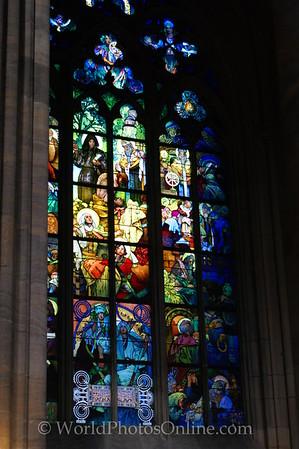 Prague - Prague Castle - St Vitus Cathedral - Stain Glass by Alphonse Mucha