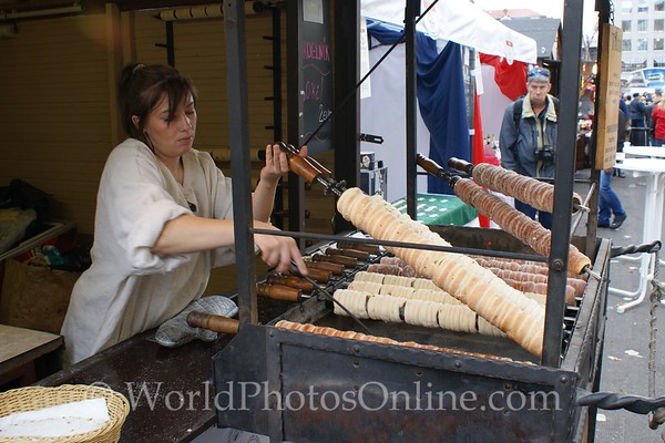 Prague - Wenceslas Square - Taste of Czech Republic Festival - Round Bread and Sugar