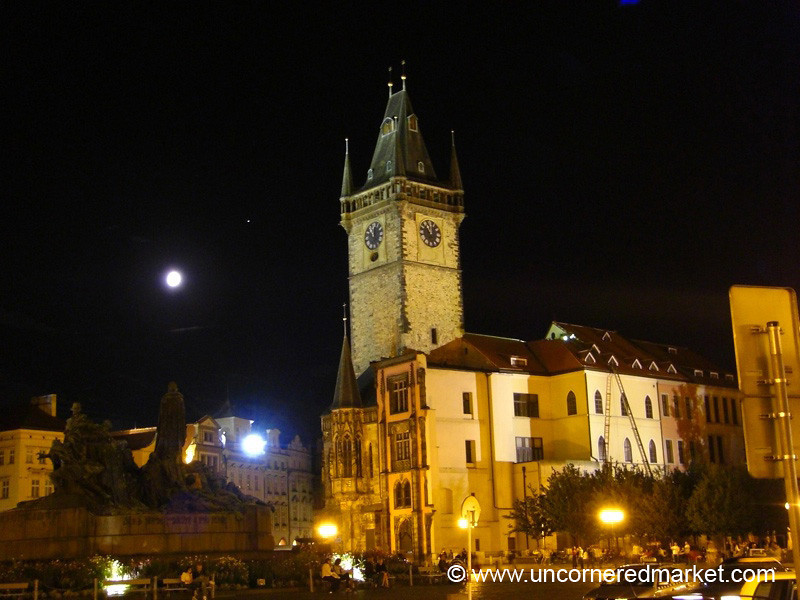 Old Town Hall Under a Full Moon - Prague, Czech Republic