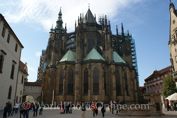 Prague - Prague Castle - St Vitus Cathedral from St George Square