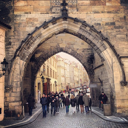 Peering into Mala Strana (Lesser Town) via the Charles Bridge Tower, Prague #oldschool