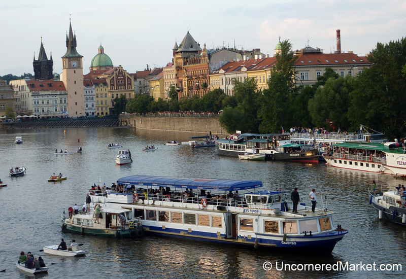 Boats Take Over The Vlatava River in Prague, Czech Republic